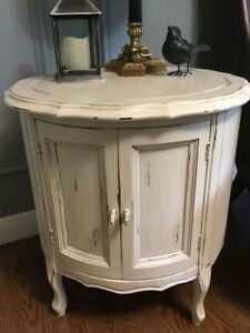 Small Round Mahogany French Provincial Storage Table