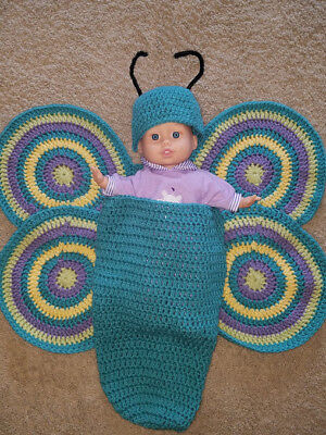 BUTTERFLY COSTUME FOR NEWBORN-UNISEX-WINGS,COCOON&HAT W/ANTENNAS! ADORABLE!!!!!! - Butterfly Newborn Costume