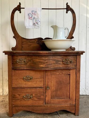 Antique Rare Ornate Oak Serpentine Front Commode Washstand Victorian Early 1900s