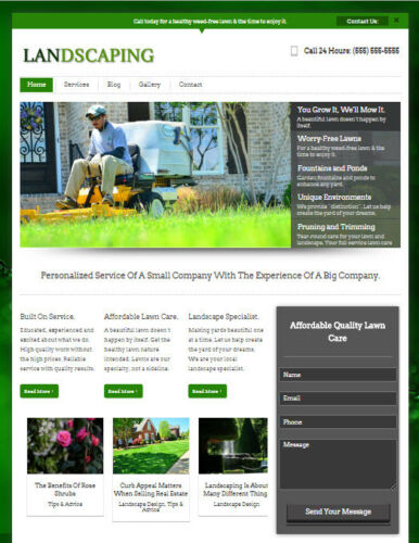 Landscaping & Lawn Care Business Website for Professional Landscaper Contractor