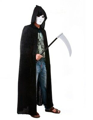 Long Velvet Black Hooded Cloak Cape Deluxe Vampire Halloween Fancy Dress DB](Long Black Hooded Cloak)