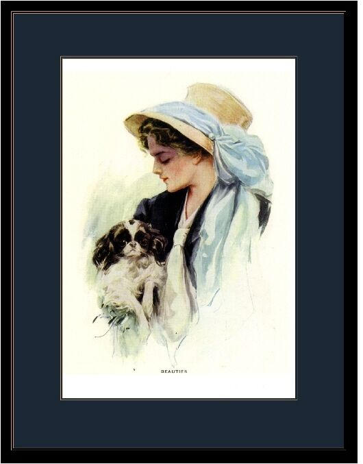 English Print Japanese Chin Puppy Dog & Girl in Bonnet Art Picture Poster