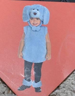 NWT-Tod Girls Blue Dog Puppy Corduroy Plush 4 Pc Halloween Costume-sz 12/24 mths - Girl Puppy Halloween Costume