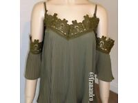 New with tags - khaki cold shoulder top