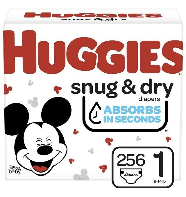 Huggies Snug & Dry Baby Diapers, Size 1, 256 Count, One Month Supply   AMDS