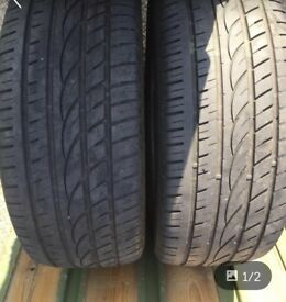 CHEAP Two barley worn tyres 235 50 18s 101w
