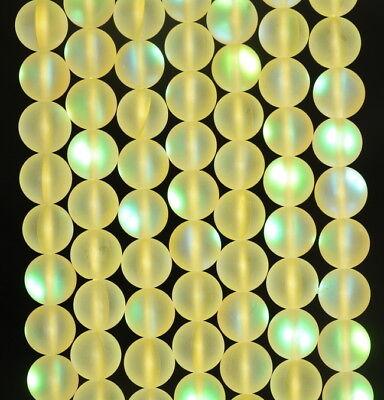 "8MM Yellow Frosted Matte Mystic Aura Quartz(Glass) Gemstone Round Loose Beads 7"""