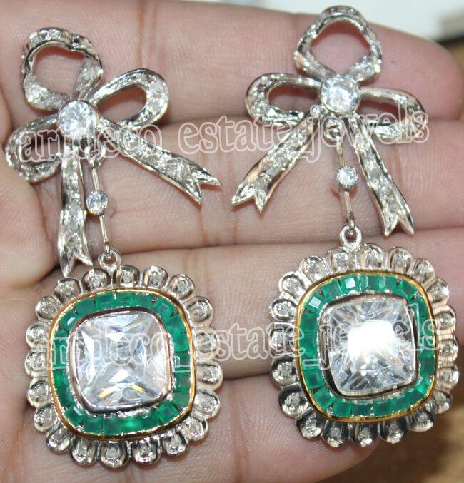 2.50ct ROSE CUT DIAMOND EMERALD VICTORIAN LOOK 925 SILVER DANGLER EARRING