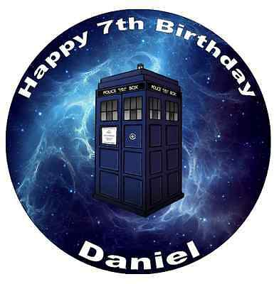 Dr Who Tardis Personalised Cake Topper Edible Wafer Paper 7.5