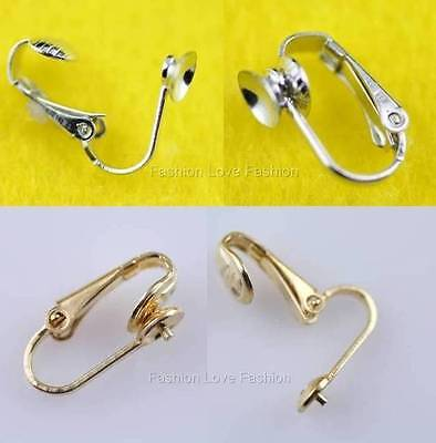 4 Pairs 'u' Clip On Earring Findings For Pearl Stud Earrings Silvertone/goldtone