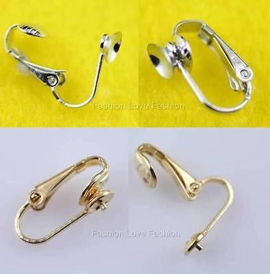 4 Pairs 'u' Clip On Earring Findings For Pearl Stud Earrings Silvertone/goldtone