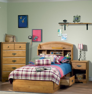 Solid wood bed with headboard bookcase