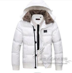 Mens-Fur-Collar-Hooded-Down-Cotton-Jacket-Slim-Short-Thick-Winter-Outwear-Size