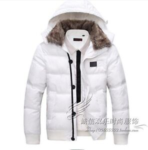 Winter-Mens-Fur-Collar-Hooded-Down-Cotton-Jacket-Slim-Short-Thick-Outwear-Size