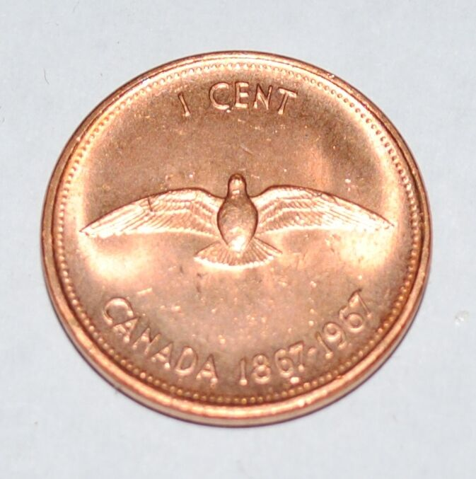 1967 1 Cent Canada Copper Nice Uncirculated Canadian Centennial Penny