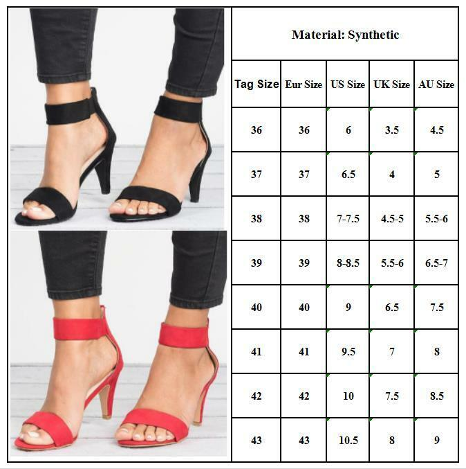 Womens Mid Stiletto Heels Open Toe Sandals Ankle Strap Summer Party Shoes Size 8 - $13.58