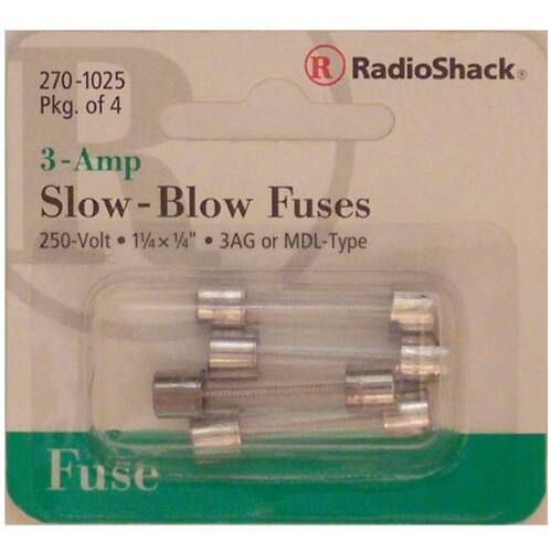 RadioShack Slow-Blow 3-Amp 250 Volt 3AG MDL Glass Fuses 1-1/4 X 1/4 3A 250V 4/PK
