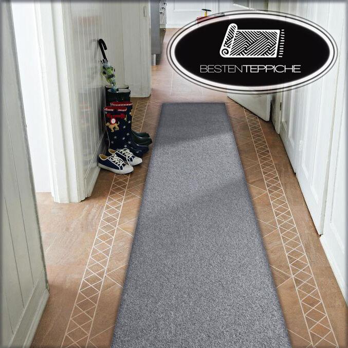 Moderne Läufer grau Teppich Korridor Flur Diele Breite 50, 60, 70, 80, 90 100 cm
