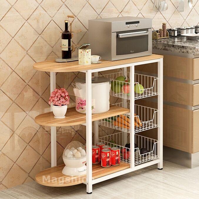 Kitchen Island Dining Cart Baker Cabinet Basket Storage Shel
