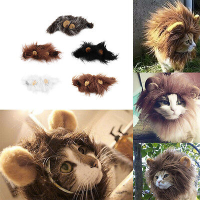 Pet Costume Lion Mane Wig for Cat Halloween Christmas Party Dress Up With Ear re ()