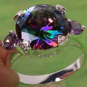 Royal-Genuine-Rainbow-Topaz-Amethyst-Gemstone-Silver-Ring-Size-6-7-8-9-10-11
