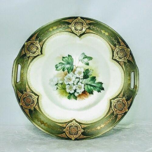 "Antique Reinhold Schlegelmilch RS Germany Porcelain Dogwood Handled Plate 9 3/4"""