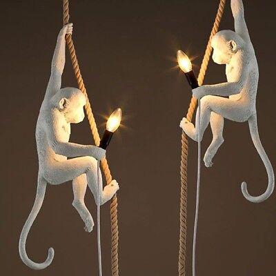 Loft Vintage Resin Hemp Rope Monkey Pendant Light Fixture Ceiling Pendant Lamp  -