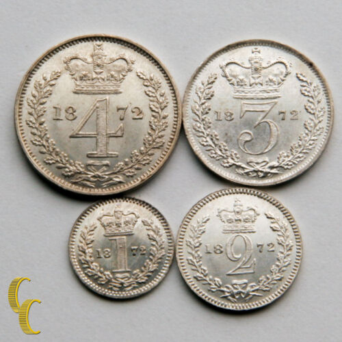1872 Great Britain Maundy Silver Coin Set MDS125 1P, 2P, 3P, 4P