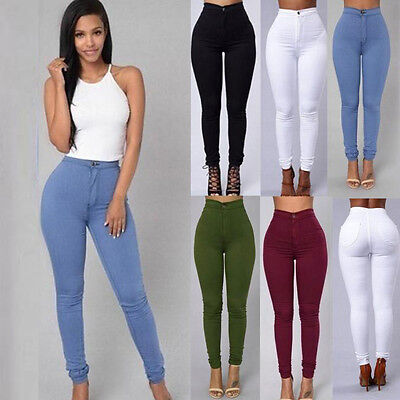 Women Pencil Stretch Denim Skinny Jeans Pants High Waist Jeans Casual Trousers