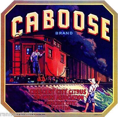Crescent City Florida Caboose Train Orange Citrus Fruit Crate Label Art Print