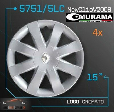 4 Original MURAMA 5751/5LC Radkappen für 15 Zoll Felgen RENAULT NEW CLIO 2008 online kaufen