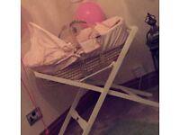 Mamas & Papas Pink Moses Basket with folding stand