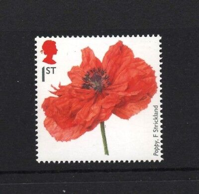 POPPY/FIONA STRICKLANDS/FIRST WORLD WAR 1914/PLANTS/GB 2014 UM MINT STAMP