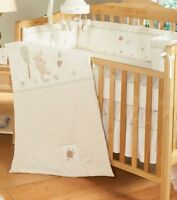 Crib bedding set, mobile and curtain.
