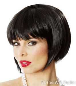 FLAPPER COSTUME BOB WIG BLACK 1920's Fancy Dress Snow White Hens Night Dance