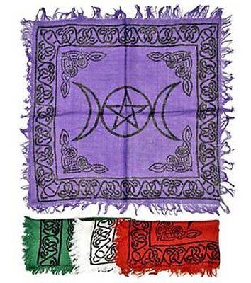 "Small Purple Triple Moon Pentagram 18"" by 18""  Altar Cloth Wicca"