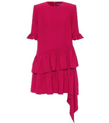 ALEXANDER MCQUEEN Leaf Crepe Asymmetric Ruffle Hem Drape Dress Sz 44 NWT $1,985