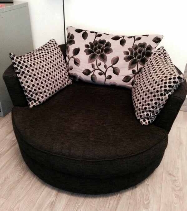 Black Dfs U0027joelleu0027 Sofa, Swivel Chair Suite   Excellent Condition