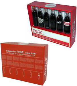 Coca Cola: Evolution Of The Contour Bottle Miniature Set - New & Official In Box