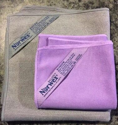Norwex BASIC PACKAGE GRAPHITE EnviroCloth PURPLE Window Cloth Microfiber Baclock