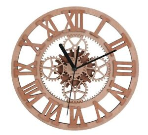 Wall Clock Decorative Unique Wooden Decorative Gear Round-Shaped