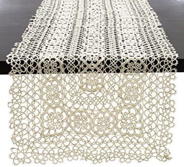 "Handmade Tatting Lace Tablecloth 100% Cotton (14""x54"" Runner) Ecru"