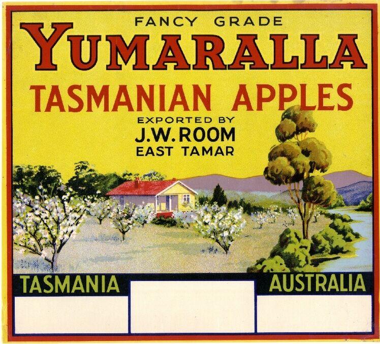 East Tamar, Tasmania Australia Yumaralla Apple Fruit Crate Label Art Print