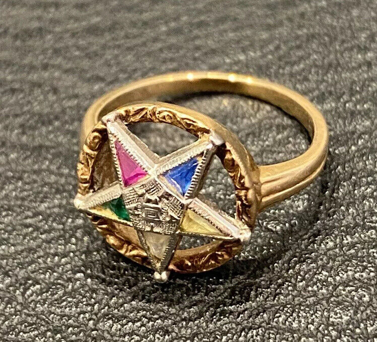 Antique Order Of The Eastern Star Masonic Ring 14K PD Gold Yellow White Jewelry