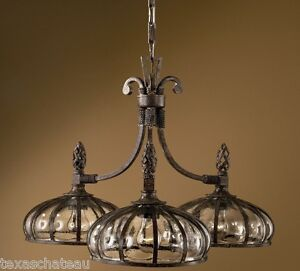 Spanish colonial revival style bronze iron amp art glass for Spanish revival lighting fixtures