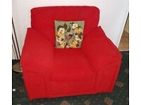Red sofa and arm chair