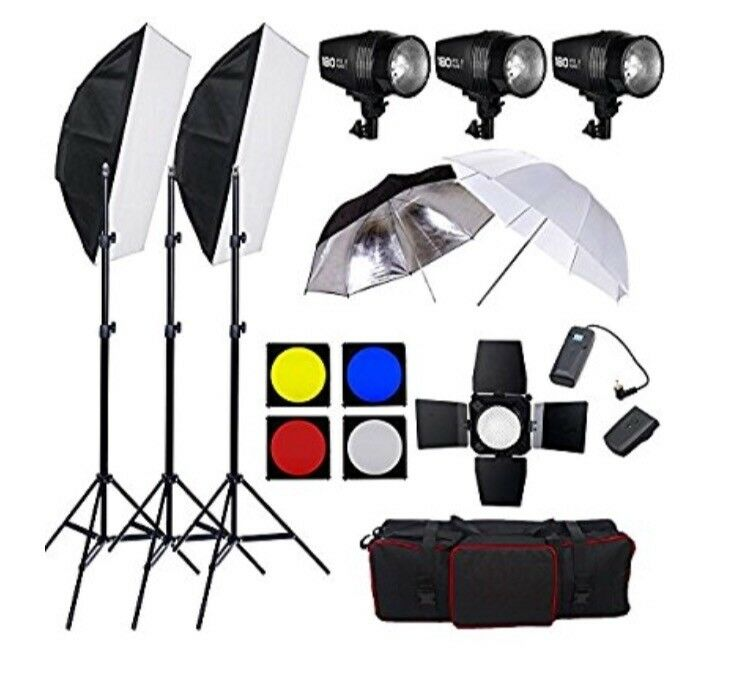 Studio lighting kit with background stand
