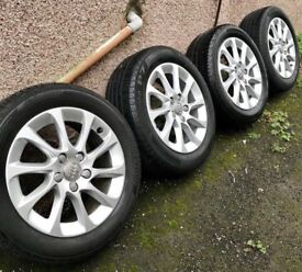 Audi 16 Inch Alloy Wheels With Tyres Top Condition Cheap X 4!