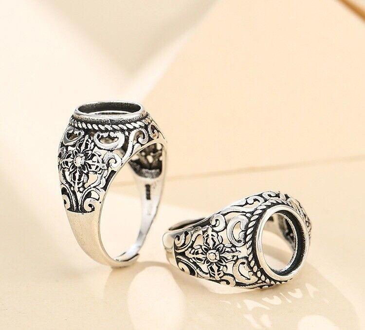 7.5*9.5mm 925 STERLING SILVER Semi Mount Base Blanks ring Setting Findings S5375