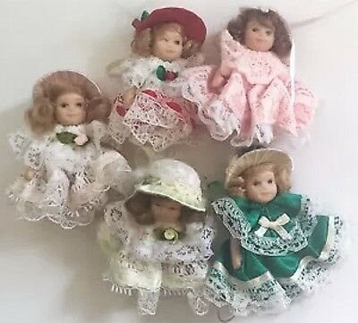 Miniature Dolls Victorian Lace Jointed Fancy Dresses Ringlet Hair Crafts Display
